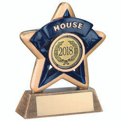 Mini Star 'House' Trophy - Brz/Gold/Blue (1In Centre) 3.75In