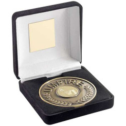 Black Velvet Box And 70Mm Umpire Medallion With Netball Insert - Ant Gold - 4In