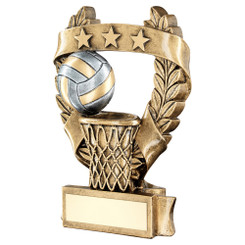 Brz/Pew/Gold Netball 3 Star Wreath Award Trophy - 5In