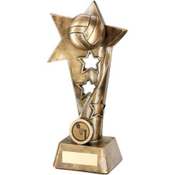 Brz/Gold Netball Twisted Star Column Trophy - (1In Centre) 9In