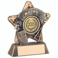 Mini Star 'Maths' Trophy - Brz/Gold Maths (1In Centre) 3.75In