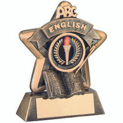 Mini Star 'English' Trophy - Brz/Gold English (1In Centre) 3.75In
