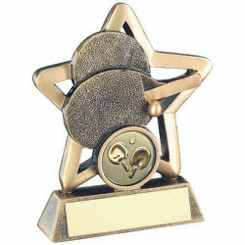 Brz/Gold Table Tennis Mini Star Trophy - (1In Centre) 3.75In