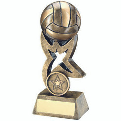 Brz/Gold Netball On Star Trophy Riser Trophy - (1In Centre) 7In