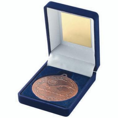 Blue Velvet Box And 50Mm Medal Swimming Trophy - Bronze 3.5In
