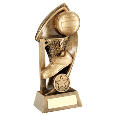 Brz/Gold Netball With Twisted Backdrop Trophy (1In Centre) - 6.25In