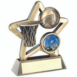 Brz/Gold Netball Mini Star Trophy - (1In Centre) 4.25In