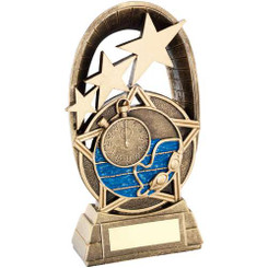 Brz/Gold/Blue Swimming Tri Star Oval Plaque Trophy - 7.25In