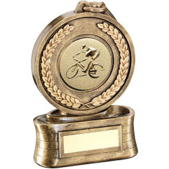 Brz/Gold Medal And Ribbon With Cycling Insert Trophy - 6.5In