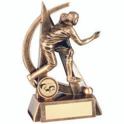 Brz/Gold Female Lawn Bowls Geo Figure Trophy - (1In Centre) 6.5In