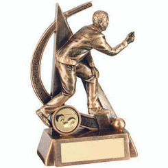 Brz/Gold Male Lawn Bowls Geo Figure Trophy - (1In Centre) 5.75In