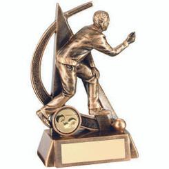 Brz/Gold Male Lawn Bowls Geo Figure Trophy - (1In Centre) 6.5In