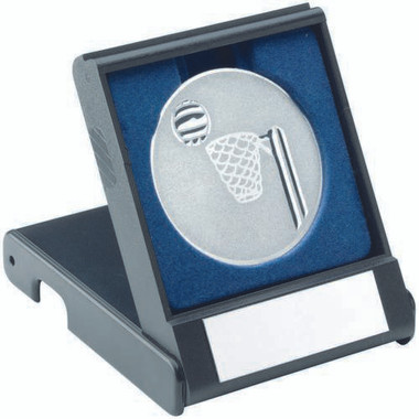 Black Plastic Box With Netball Insert - Silver 3.5In