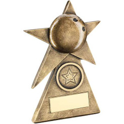 Brz/Gold Ten Pin Star On Pyramid Base Trophy - (1In Centre) - 6In