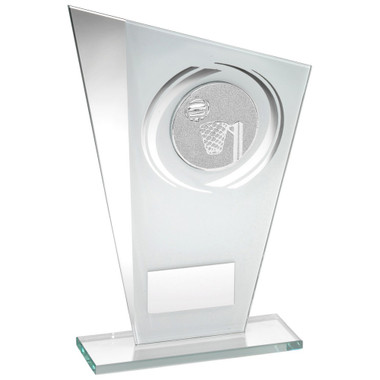 White/Silver Printed Glass Plaque With Netball Insert Trophy - 7.25In
