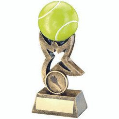 Brz/Gold/Yellow Tennis Ball On Star Riser Trophy - (1In Centre) 4In