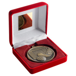 Red Velvet Box And 60Mm Medal Hockey Trophy - Antique Gold - 4In