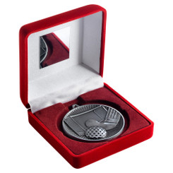 Red Velvet Box And 60Mm Medal Hockey Trophy - Antique Silver - 4In