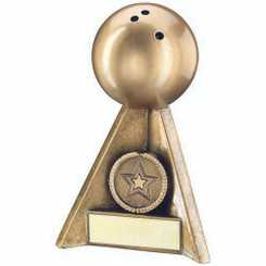 Brz/Gold Ten Pin Pyramid Trophy - (1In Centre) 6In