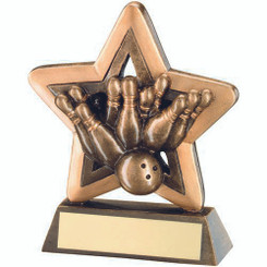 Brz/Gold Ten Pin Mini Star Trophy - 3.75In