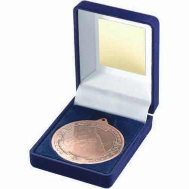Blue Velvet Box And 50Mm Medal Horse Trophy - Bronze 3.5In