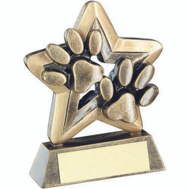 Brz/Gold Dog Paws Trophy Mini Star Trophy - 3.75In