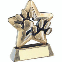 Brz/Gold Dog Paws Trophy Mini Star Trophy - 3.75In