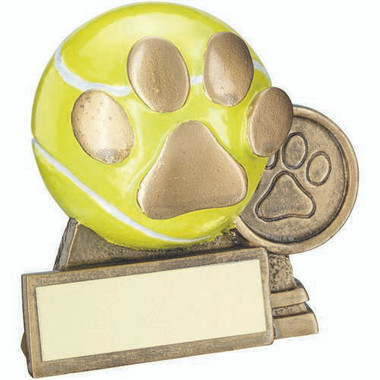 Brz/Gold/Yellow 3D Mini Tennis Ball With Dog Paw Trophy - (1In Centre) 3In