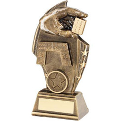 Brz/Gold Dominoes Curved Plaque Trophy - (1In Centre) 6In