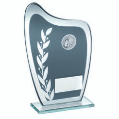 Grey/Silver Glass Plaque With Dominoes Insert Trophy - 6.5In