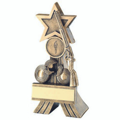 Brz/Gold Rifle And Clay Shooting Star Trophy - (1In Centre) 6In