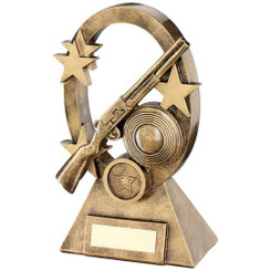 Brz/Gold Shooting Oval/Stars Series Trophy - (1In Centre) 6.25In