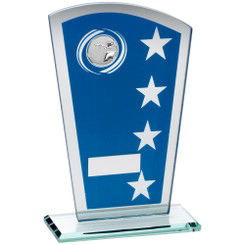 Blue/Silver Printed Glass Shield With Shooting Insert Trophy - 8In