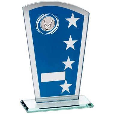 Blue/Silver Printed Glass Shield With Ten Pin Insert Trophy - 8In