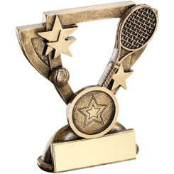 Brz/Gold Tennis Mini Cup Trophy - (1In Centre) 4.25In