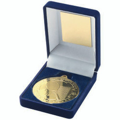Blue Velvet Box And 50Mm Medal Tennis Trophy - Gold 3.5In