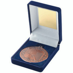 Blue Velvet Box And 50Mm Medal Tennis Trophy - Bronze 3.5In