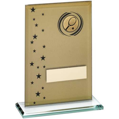 Gold/Black Printed Glass Rectangle With Tennis Insert Trophy - 6In