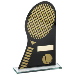 Black/Gold Printed Glass Plaque With Tennis Racket/Ball Trophy - 7.25In