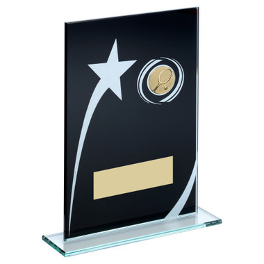 Blk/White Printed Glass Plaque With Tennis Insert Trophy - 8In