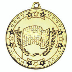 Motor Sport 'Tri Star' Medal - Gold 2In