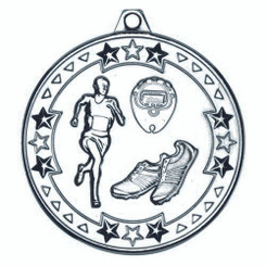 Running 'Tri Star' Medal - Silver 2In