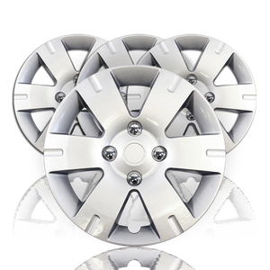 """Set of Four 15"""" Silver 6 Spoke Wheel Covers for 2007-12 Nissan Sentra (Push-on)"""