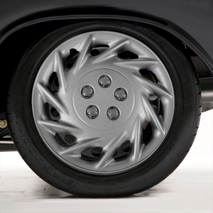 """Set of Four 15"""" Silver ABS 11 Spoke Wheel Covers (Metal Clip Retention)"""