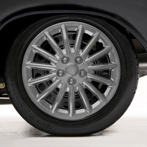 "Set of Four 16"" Chrome ABS 15 Spoke Wheel Covers (Metal Clip Retention)"
