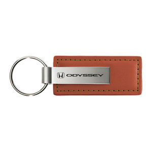 Honda Odyssey on Brown Leather Keychain - Officially Licensed