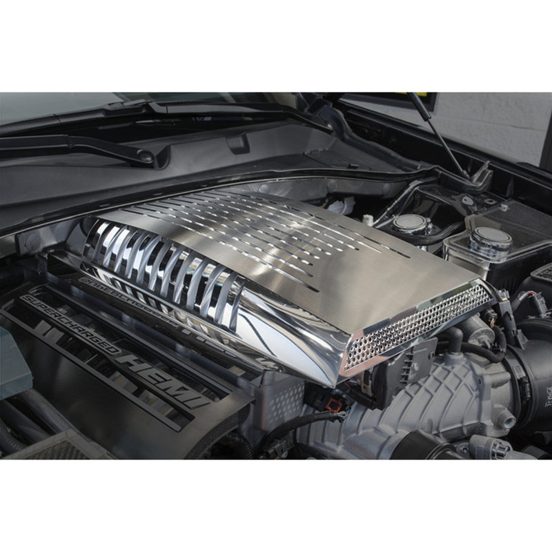 Polished/Brushed Stainless Steel Plenum Cover for 15-17 Dodge Challenger  Hellcat