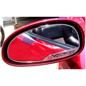 """Brushed Stainless Side View Mirror Trim w/""""Viper SRT-10"""" for 2003-04 Dodge Viper"""