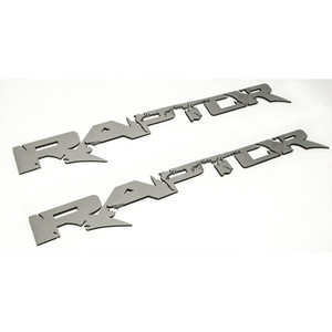 "2pc Brushed Stainless Steel Badges w/""Raptor"" for 2010-14 Ford F-150 SVT Raptor"