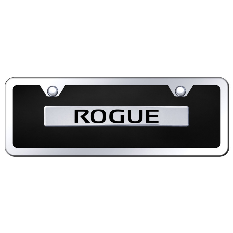 Chrome Nissan Rogue on Black Acrylic Mini License Plate Kit